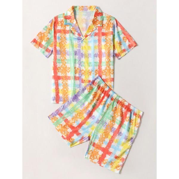Mens Pajama Set Short Sleeve Loungewear Sleepwear Shirts with Shorts Plaid Orange