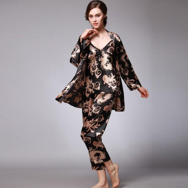 Womens Satin Robe Camisole & Pants 3Pcs Pajamas Sets Dragon Print