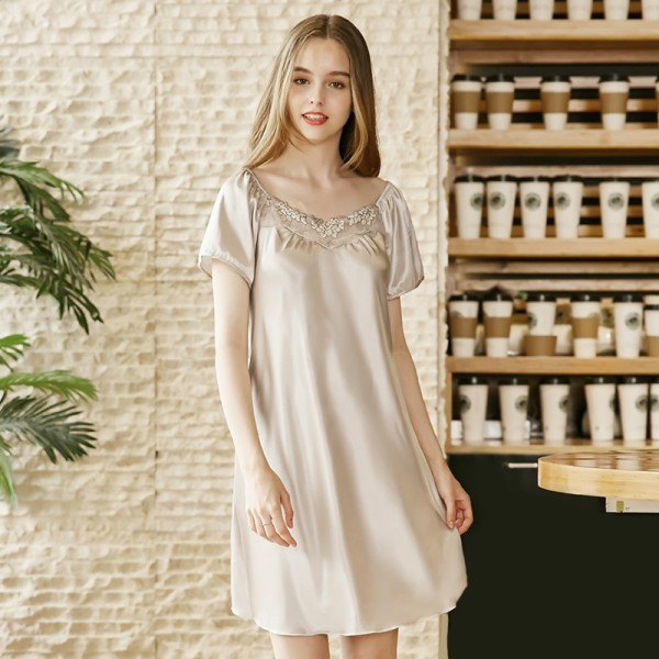 Womens Summer Short Satin Nightgown Lovely Style 5 Colors
