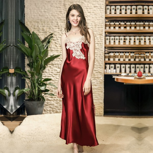 Womens Summer Long Satin Nightgown Sexy Lace Collar 4 Colors