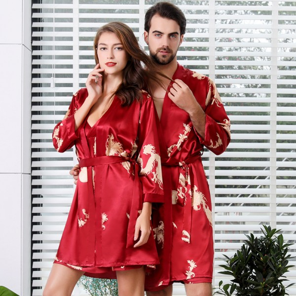 Womens & Mens Kimono Robe Maching Couples Sleepwear Summer Lightweight Red