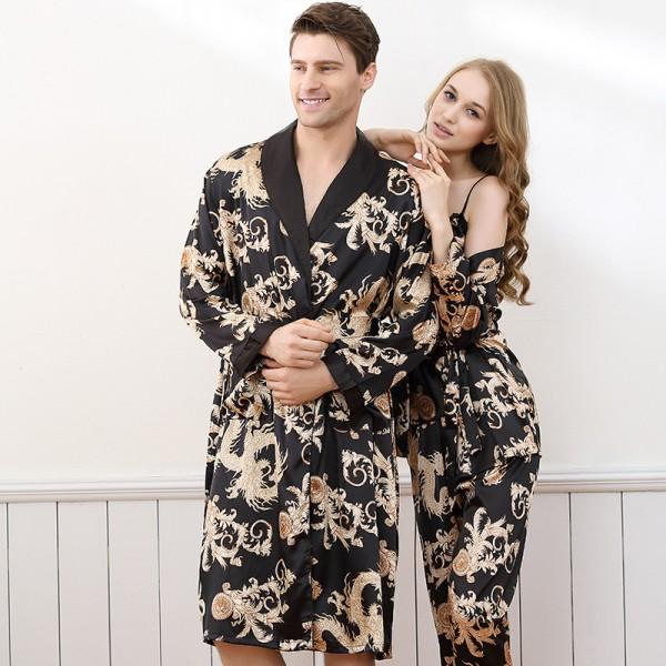 Kimono Robe For Couples Women And Mens Summer Lighgweight Satin Sleepwear