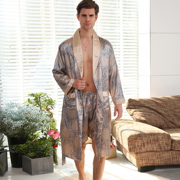 Kimono Robe Mens With Shorts Sets Luxury Style For Summer Long Sleeve