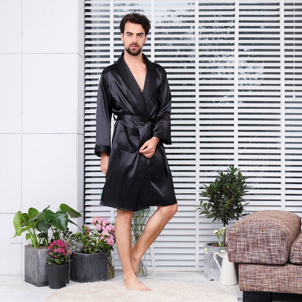 Black Summer Lightweight Kimono Robe For Men Long Sleeve