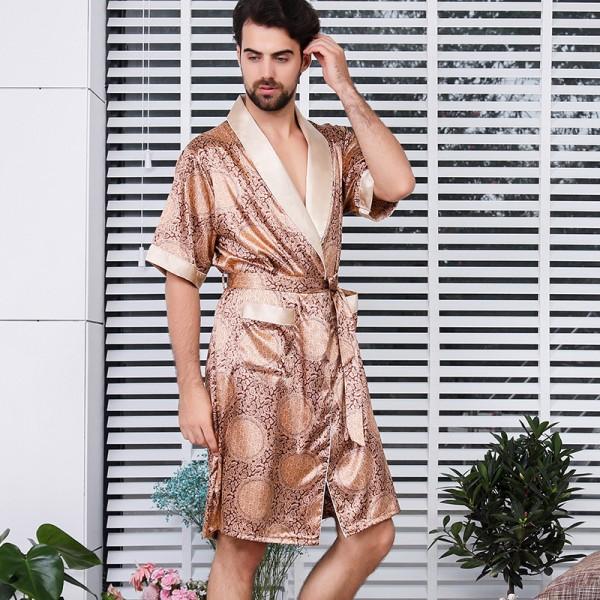 Mens Kimono Robe Short Sleeve Lightweight Summer Sleepwear Golden