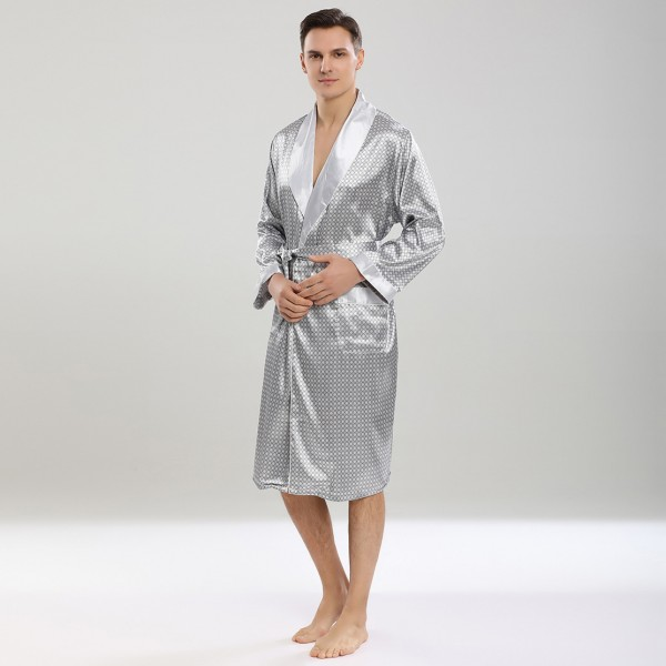 Summer Lightweight Kimono Robe With Shorts Long Sleeve For Men Silver