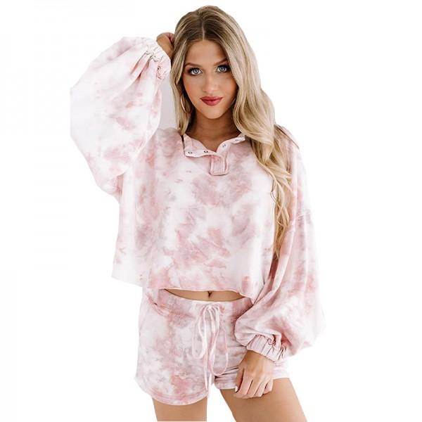 Womens Fashion Pink Lounge Set 2Pcs Long Sleeve & Shorts Pajamas Sleepwear Jogger