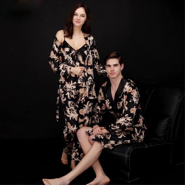 Womens 3-piece Satin Pajamas Mens Short Satin Robe for Couple