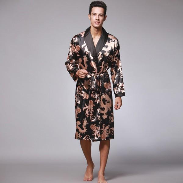 Mens Short Satin Robe Dragon Print 5 Colors
