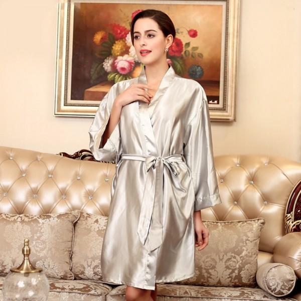 Womens Short Satin Robe Kimono Simple Style 8 Pure Colors