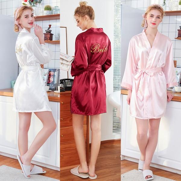 Womens Short Satin Bride & Bridesmaid Robes 3 Colors
