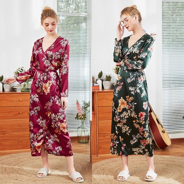 Womens Long Satin Kimono Robe Floral Print 2 Colors