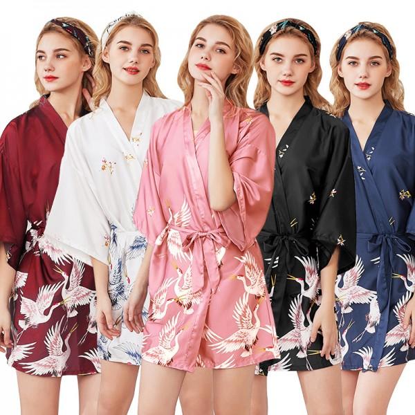 Womens Short Satin Robe Kimono Style Crane Print 5 Colors Summer