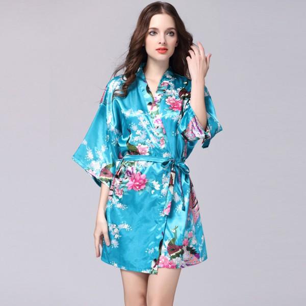 Womens Short Satin Robe Kimono Peacock Print 6 Colors Summer